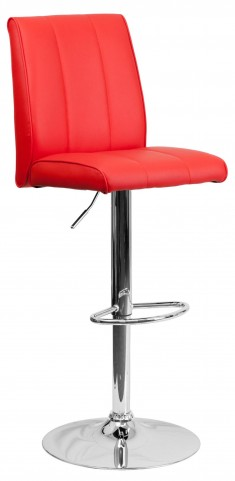 1000576 Red Vinyl Adjustable Height Bar Stool