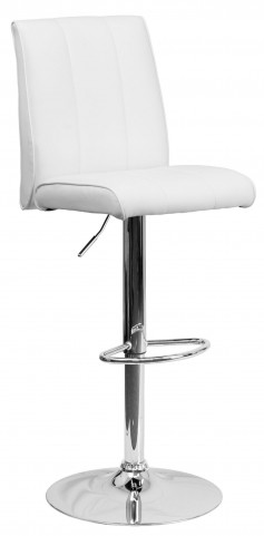 1000577 White Vinyl Adjustable Height Bar Stool