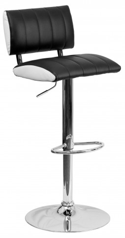 Two Tone Black & White Adjustable Height Bar Stool