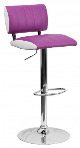 Two Tone Purple & White Adjustable Height Bar Stool