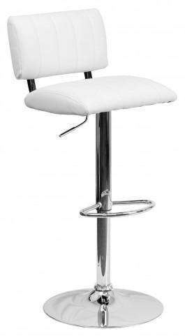 1000586 White Vinyl Adjustable Height Bar Stool