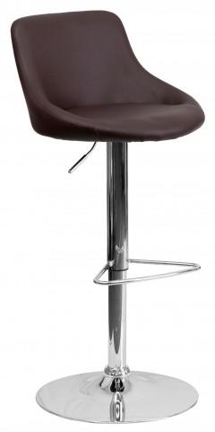1000589 Brown Vinyl Bucket Seat Adjustable Height Bar Stool