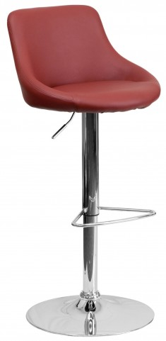 1000590 Burgundy Vinyl Bucket Seat Adjustable Height Bar Stool