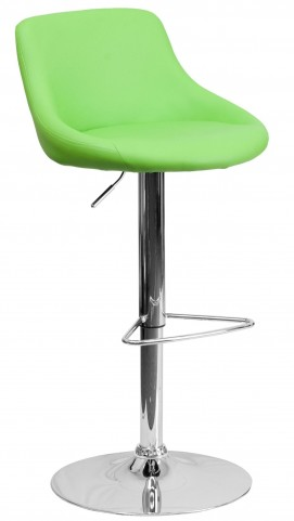 1000591 Green Vinyl Bucket Seat Adjustable Height Bar Stool