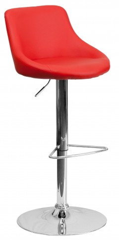 1000594 Red Vinyl Bucket Seat Adjustable Height Bar Stool