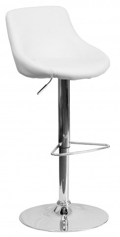 1000595 White Vinyl Bucket Seat Adjustable Height Bar Stool