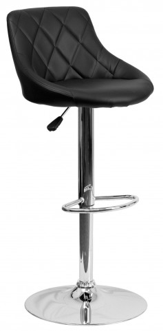 1000597 Black Vinyl Bucket Seat Adjustable Height Bar Stool