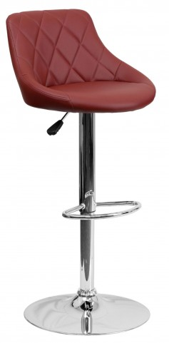 1000599 Burgundy Vinyl Bucket Seat Adjustable Height Bar Stool