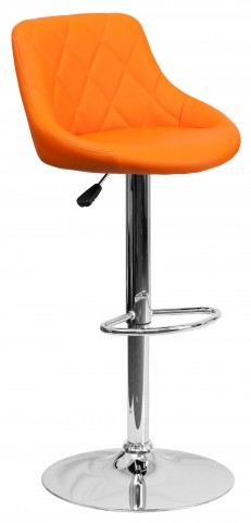 1000601 Orange Vinyl Bucket Seat Adjustable Height Bar Stool