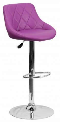 1000602 Purple Vinyl Bucket Seat Adjustable Height Bar Stool