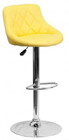 1000605 Yellow Vinyl Bucket Seat Adjustable Height Bar Stool