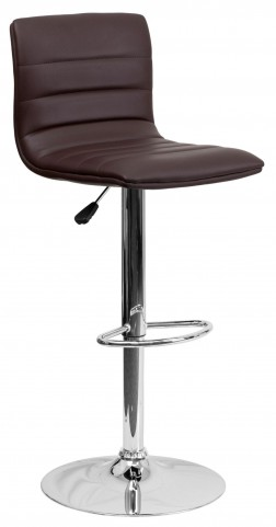 1000607 Brown Vinyl Adjustable Height Bar Stool