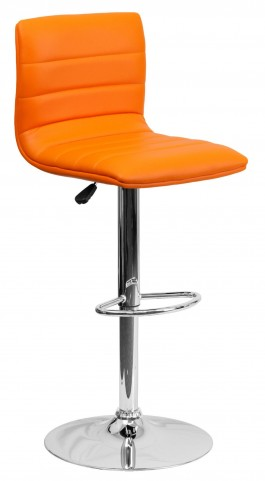 1000610 Orange Vinyl Adjustable Height Bar Stool