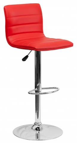 1000612 Red Vinyl Adjustable Height Bar Stool