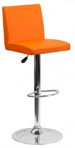 1000619 Orange Vinyl Adjustable Height Bar Stool