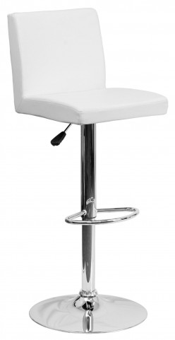 1000622 White Vinyl Adjustable Height Bar Stool