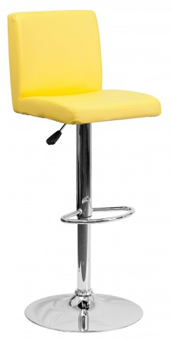 1000623 Yellow Vinyl Adjustable Height Bar Stool