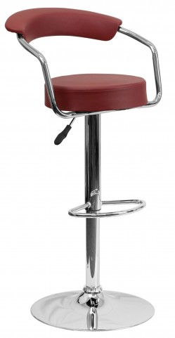 Burgundy Adjustable Height Arm Bar Stool