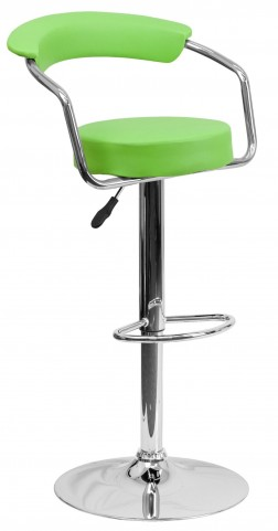 Green Adjustable Height Arm Bar Stool