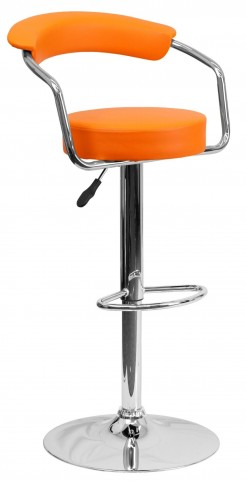 Orange Adjustable Height Arm Bar Stool