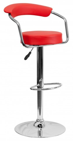 Red Adjustable Height Arm Bar Stool