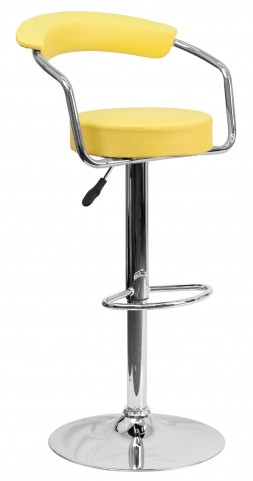Yellow Adjustable Height Arm Bar Stool