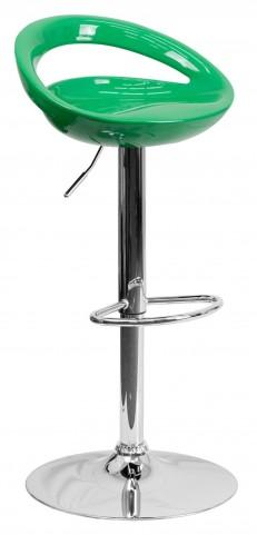 1000662 Green Plastic Adjustable Height Bar Stool