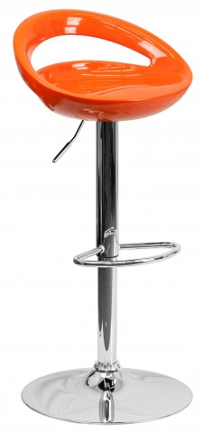 Orange Plastic Adjustable Height Bar Stool