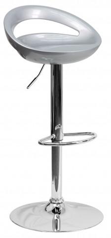 Silver Plastic Adjustable Height Bar Stool