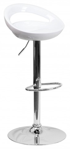 White Plastic Adjustable Height Bar Stool