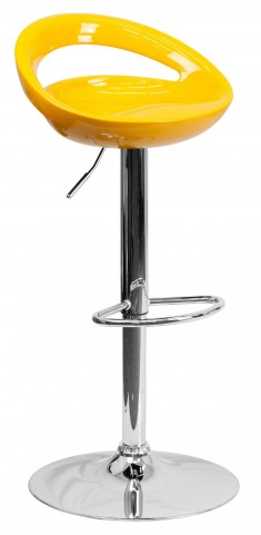 1000668 Yellow Plastic Adjustable Height Bar Stool