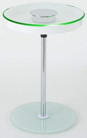 Charo White Round Chairside End Table
