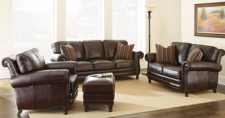 Chateau Top Grain Leather Living Room Set