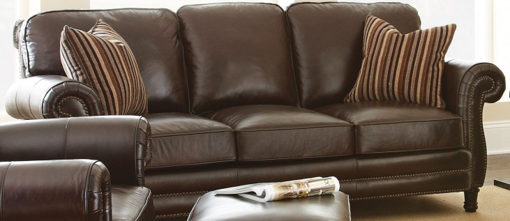 Chateau Top Grain Leather Sofa with 2 Accent Pillows