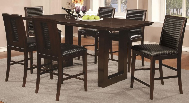 Chester Rectangular Pedestal Counter Height Dining Set