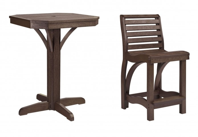 "St Tropez Chocolate 28"" Square Counter Pedestal Dining Room Set"
