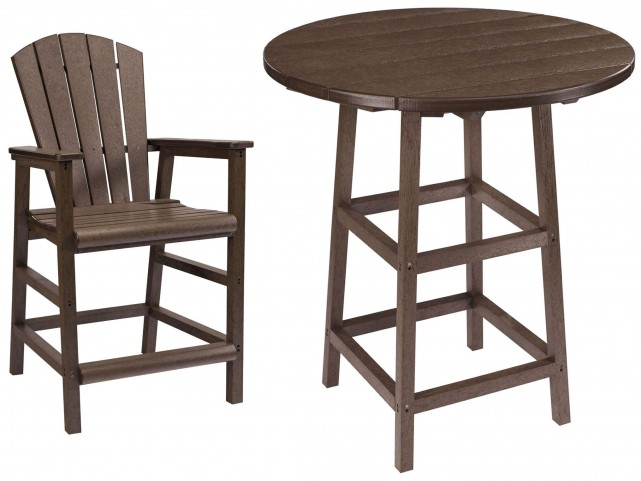 "Generations Chocolate 32"" Round Leg Pub Set"