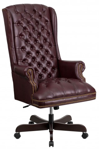High Back Tufted Burgundy Executive Office Chair