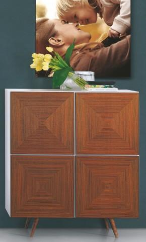 City White and Walnut Door Cabinet