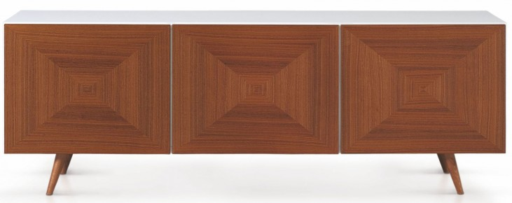 City White and Walnut Door Sideboard