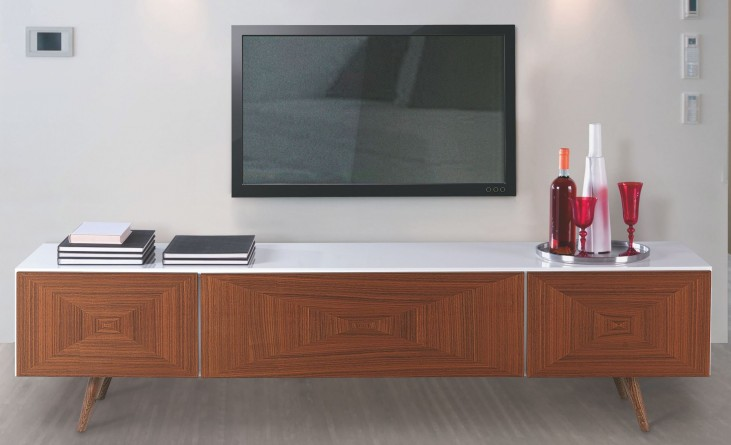City White and Walnut Front TV Stand