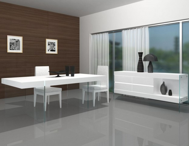 Cloud High Gloss Modern Rectangular Dining Room Set