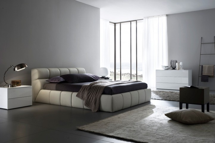 Cloud Beige Queen Leather Bed