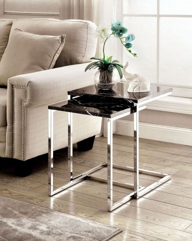 Sue Black Faux Marble Nesting Table