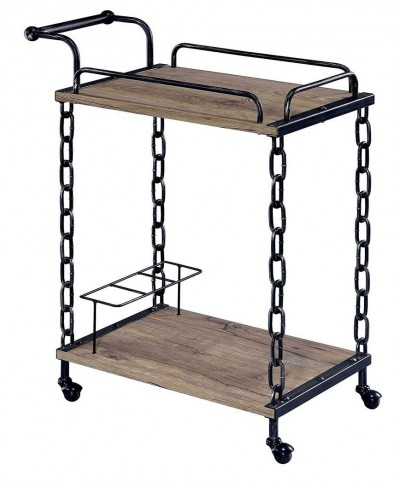 Cheyanne Powder Coated Black Serving Cart