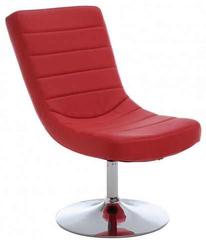 Valerie Red Lounge Chair With Ottoman