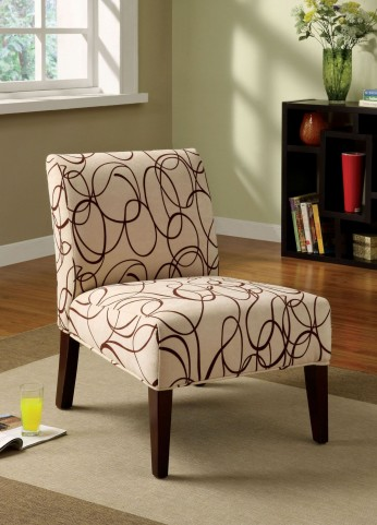 Springerville Ivory Fabric Pattern Accent Chair