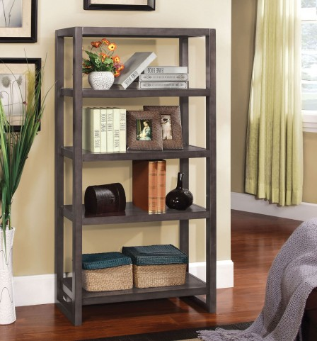 Fernie Weathered Gray 5-Tier Bookcase