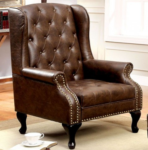 Vaugh Rustic Brown Accent Chair