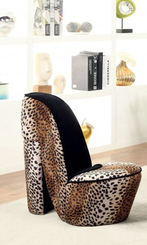 Heely Leopard Print Small Accent Chair